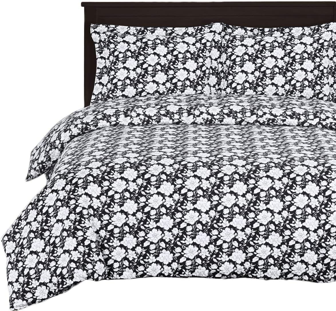Royal Hotel Agnes Floral 8-Piece Queen Size Bed-in-a-Bag Comforter, 100% Cotton 300 Thread Count