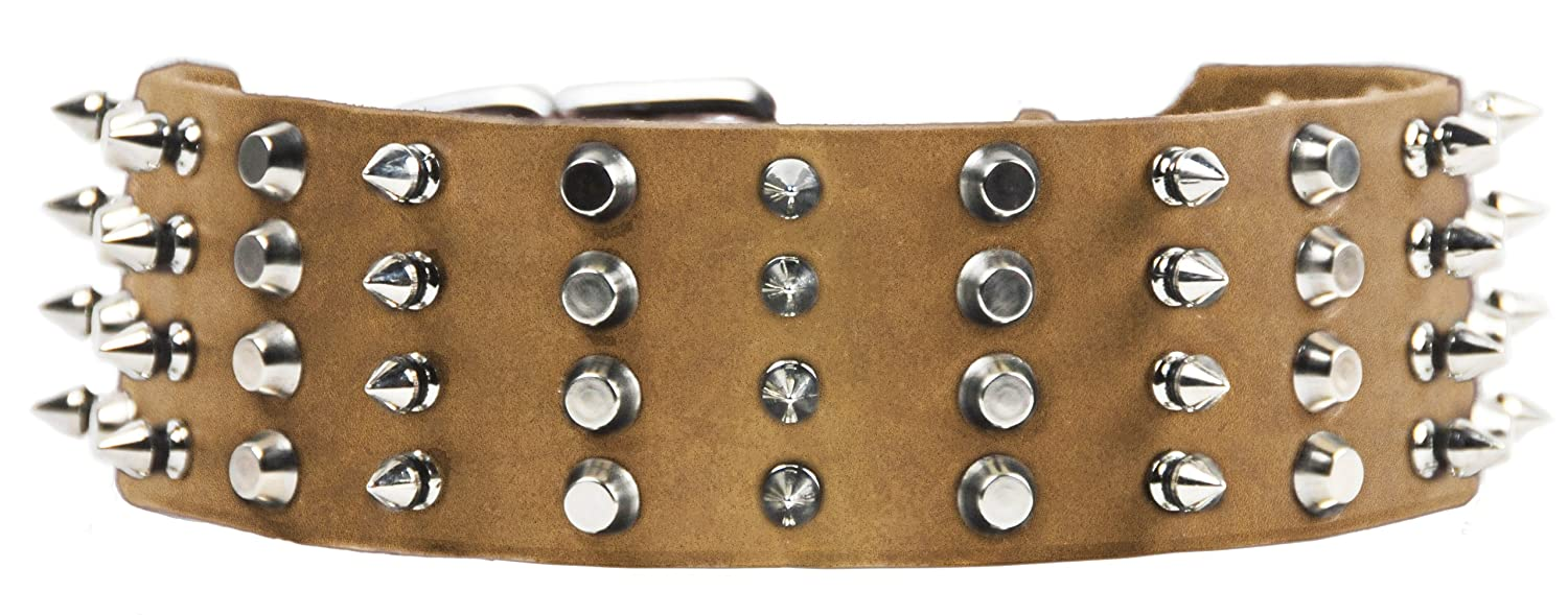 Dean and Tyler 4 ROW COMBO , Extra Wide Dog Collar with Nickel Spikes and Studs Tan Size 20-Inch by 2-1 4-Inch Fits Neck 18-Inch to 22-Inch