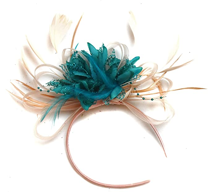 Nude Salmon and Teal Turquoise Feather Hair Fascinator Headband Wedding  Royal Ascot Races Ladies at Amazon Women s Clothing store  2ef55985f0c