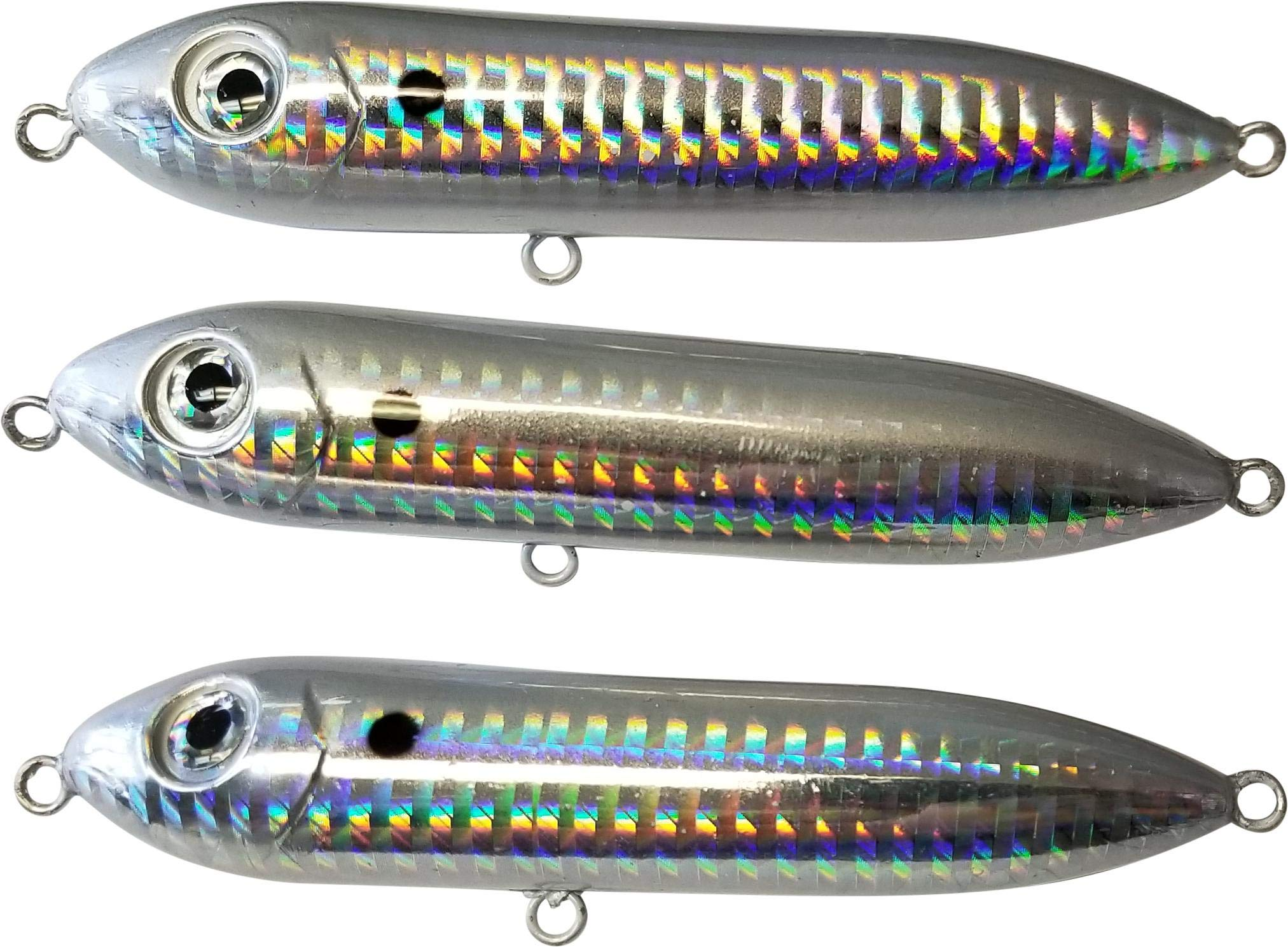Catfish Rattling Lure for Catfishing and Striper Fishing, Peg Line Float for Santee Rig, 4 Inch (3-Pack, Threadfin Shad)