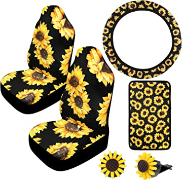 chaqlin Sunflowers Car Seat Belt Shoulder Pads Seatbelt Covers Universal Car Seatbelt Shoulder Strap,Set of 2 Black Gift