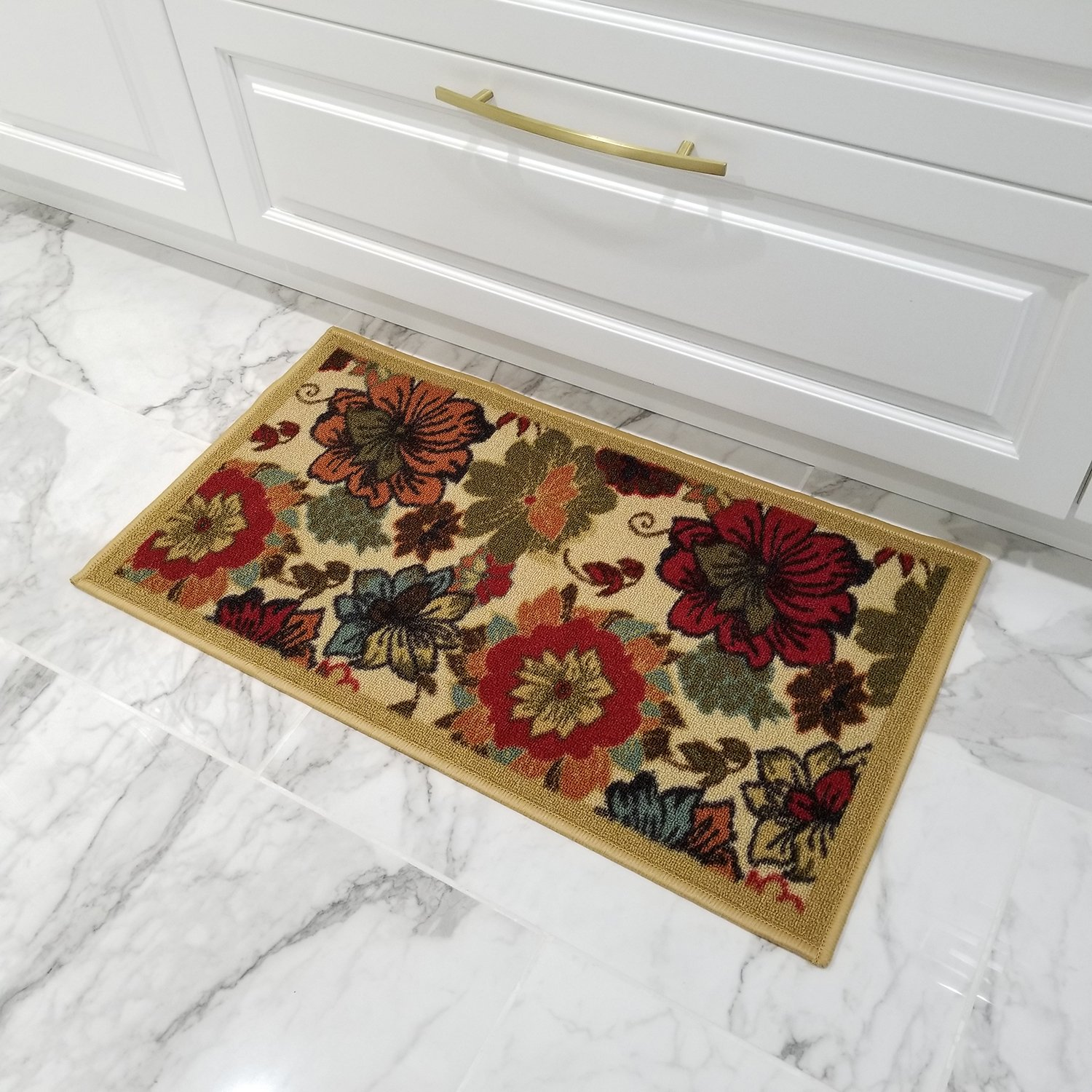 Doormat 18x30 Beige Floral Kitchen Rugs and mats | Rubber Backed Non Skid Rug Living Room Bathroom Nursery Home Decor Under Door Entryway Floor Carpet Non Slip Washable | Made in Europe