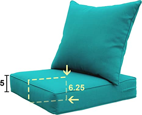 sewker outdoor chair cushion 24x24 deep seat patio furniture replacement cushions set teal