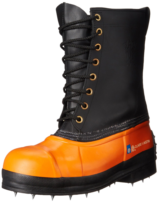 Viking Footwear Black Tusk Caulk Waterproof Steel Toe Boot, Black/Orange, 14 M US