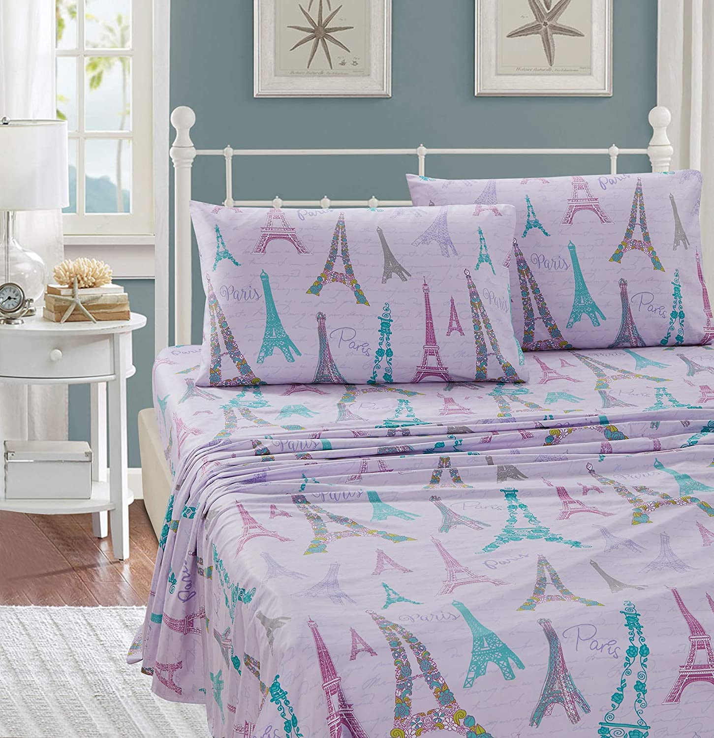 Better Home Style Bonjour Paris Chic Girls/Kids/Teens 4 Piece Sheet Set in Turquoise Pink and Lilac Eiffel Tower with Pillowcases Flat and Fitted Sheets # Lilac Paris (Queen)