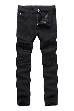 eb1a6fba366 Boy's Black Skinny Ripped Distressed Slim Fit Stretch Biker Jeans Pants 6