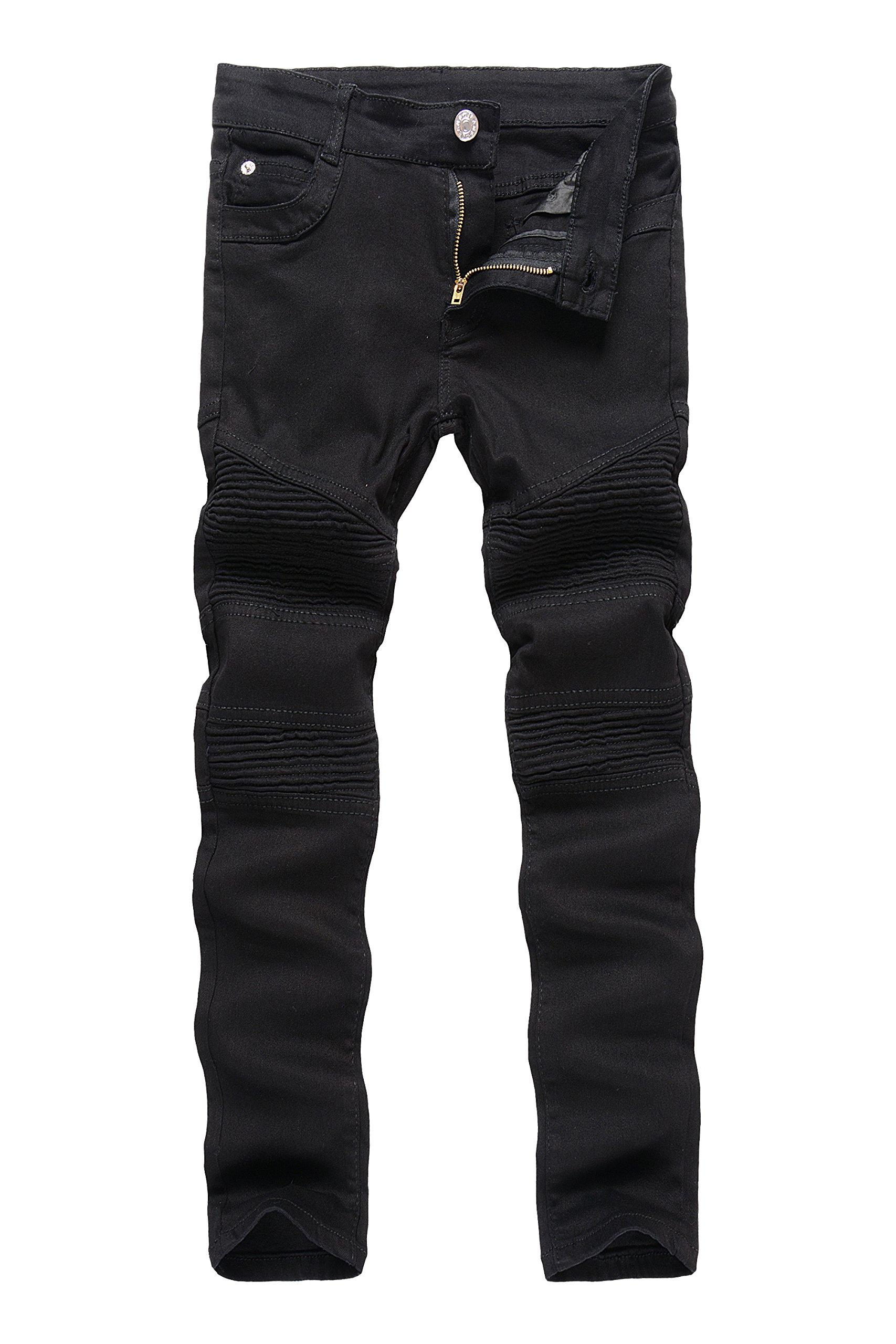 Boy's Black Biker Moto Ripped Distressed Fashion Skinny Slim Fit Jeans 8