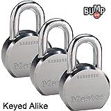 Master Lock - (3) High Security Pro Series Keyed Alike Padlocks 6230NKA-3 w/ BumpStop Technology