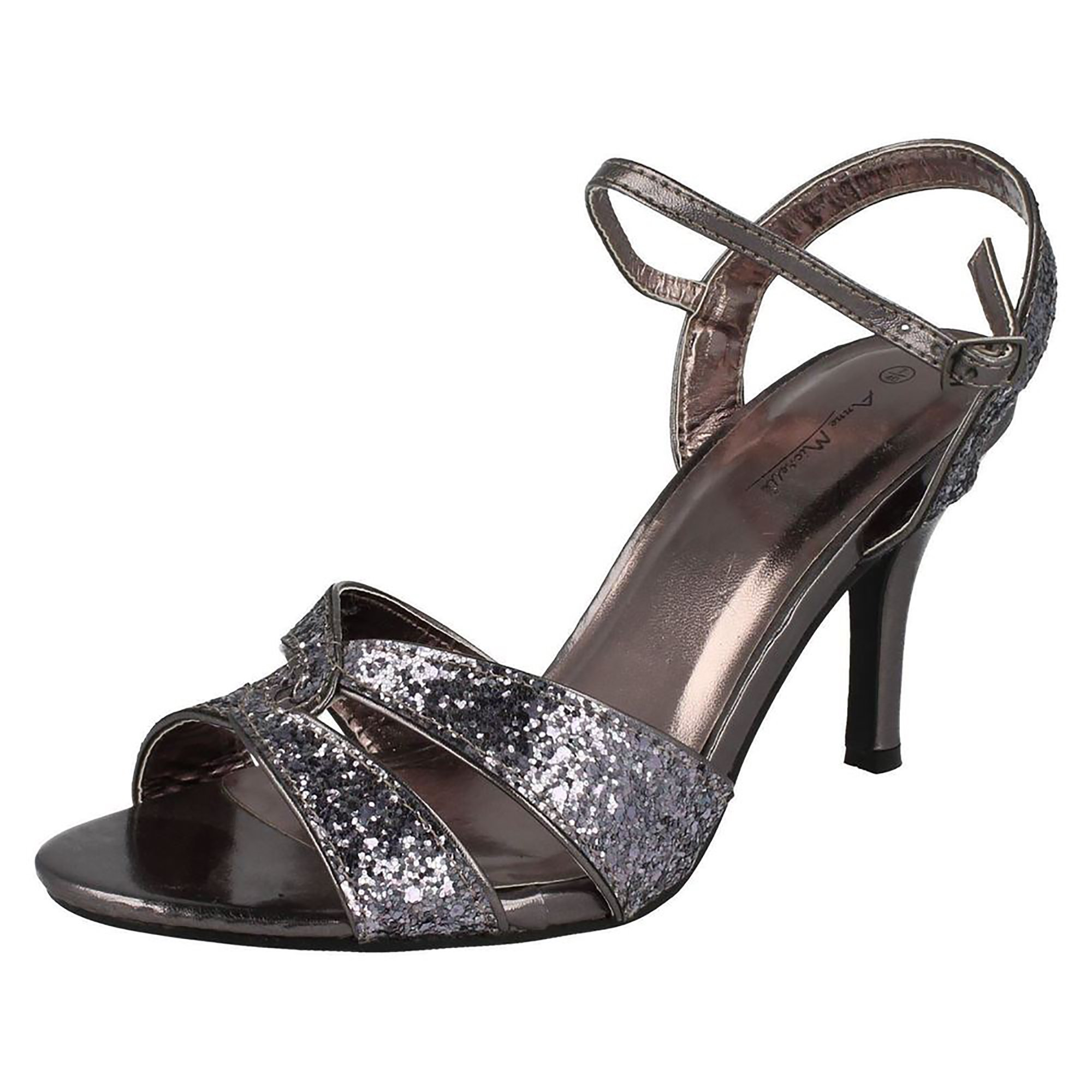 Anne Michelle Womens/Ladies Twisted Glitter Heeled Sandals (8 US) (Pewter)
