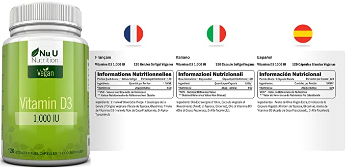 Vitamina D3 Vegana de 1000 UI | 120 Cápsulas Blandas Veganas - Suministro Para 4 Meses | Suplemento de Vitamina D Libre de Alérgenos y OMG | Fabricado en el ...