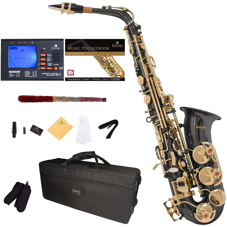 Saxofón alto Negro Mendini sintonizador, boquilla, funda xmp