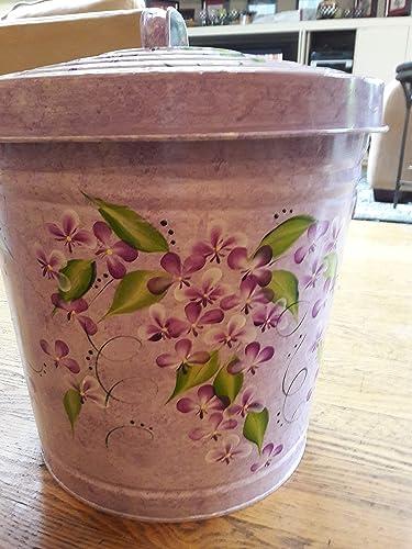 10 Gallon Hand Painted Decorative Trash Can Amazon Com