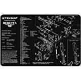 TekMat Beretta 92-M9 Cleaning Mat / 11 x 17 Thick, Durable, Waterproof / Handgun Cleaning Mat with Parts Diagram and Instructions / Armorers Bench Mat / Black