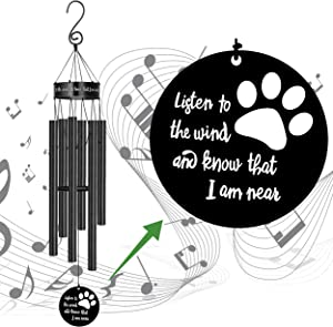 Dog Memorial Wind Chimes, Sympathy Gift for Loss of Pet Cat Windchimes Dog Rememberance Decoration Outside Outdoor Indoor Garden Yard Porch Patio Home Déco Listen to the Wind and Know I Am Near