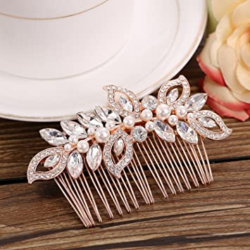 45ef579bdb5f Amazon.com   Jewby Rose Gold Wedding Hair Clips Bridal Barrette Hair  Accessories with Rhinestone and Simulated Pearls   Beauty