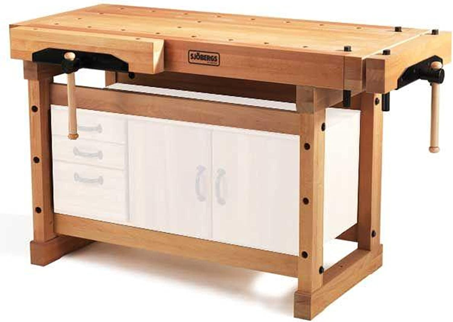 WOODEN WORK BENCH WITH TWO VICES