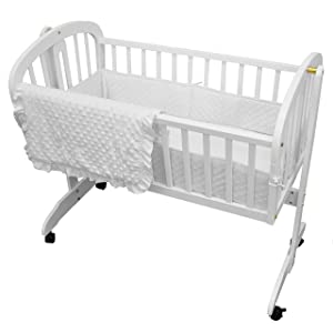 TL Care Heavenly Soft Minky Dot 3 Piece Cradle Set, White, for Boys and Girls
