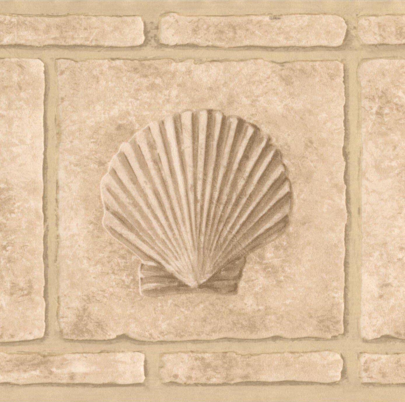 Faux Bricks with Seahorse Seashell Beige Wallpaper Border Retro Design, Roll 15' x 7''