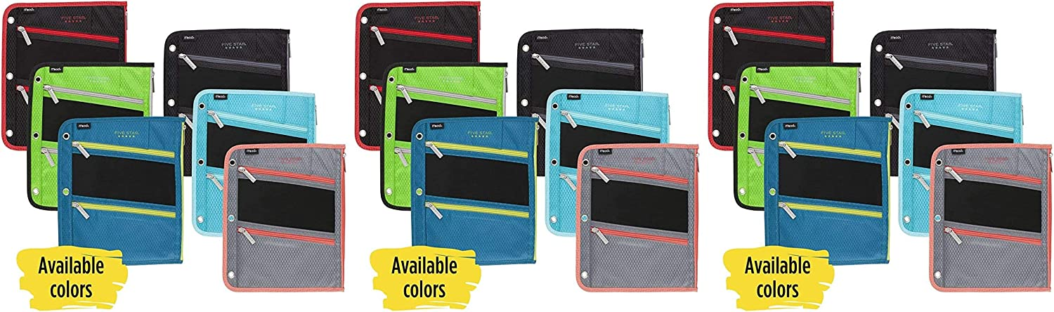 -1 Fits 3 Ring Binders Color Selected for You 1 Count Assorted Five Star Zipper Pouch Pencil Pouch Pen Holder 50642