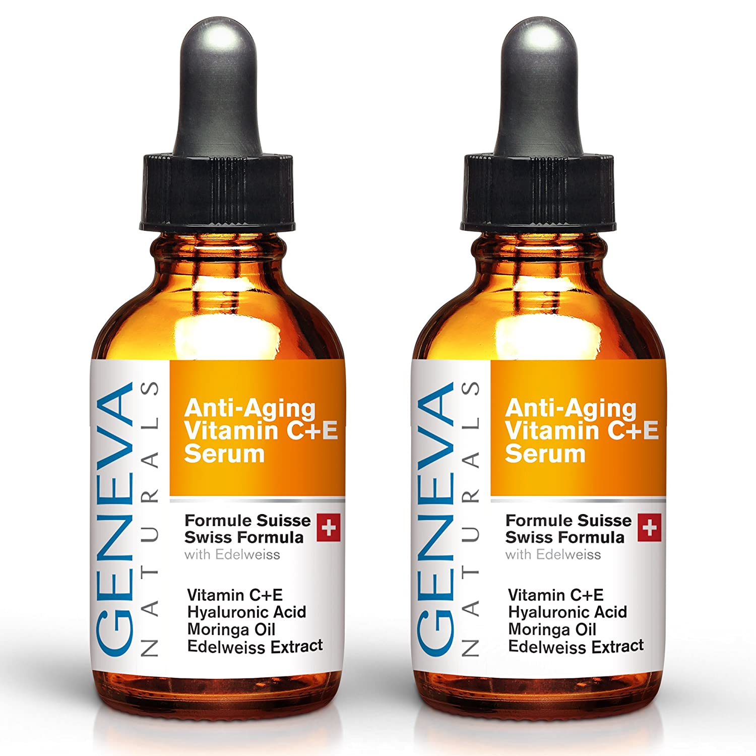 Vitamin C Serum - Anti Aging Swiss Skin Care Formula with Hyaluronic Acid, Vitamin A and E - Facial Moisturizer & Wrinkle Tightening - Collagen Rejuvenating and Firming - Men and Women - 1oz (Double)