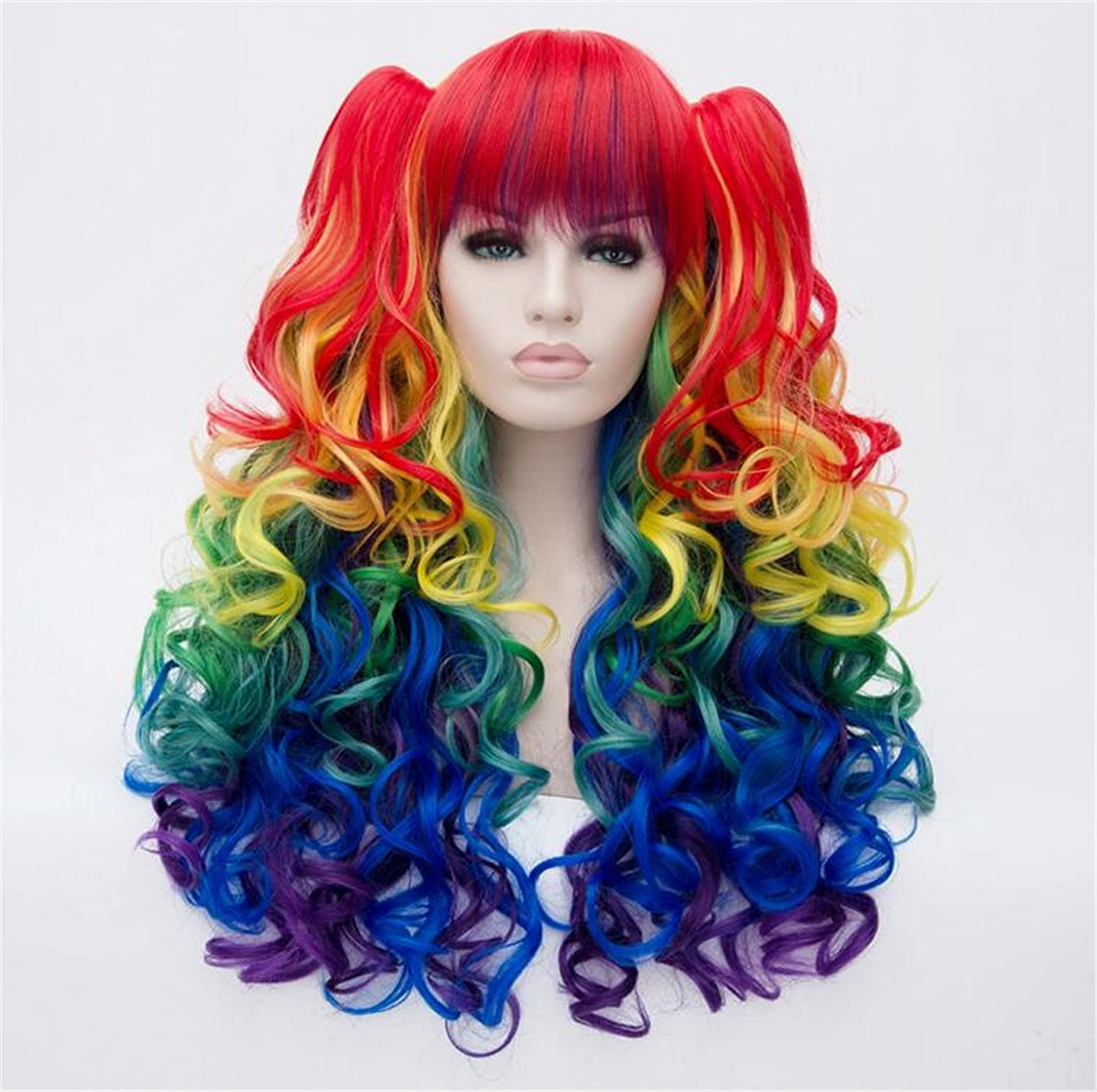 Amazon.com: ATOZWIG Long Rainbow Curly Cosplay Wig with Ponytails Synthetic Hair Costume Wig: Beauty