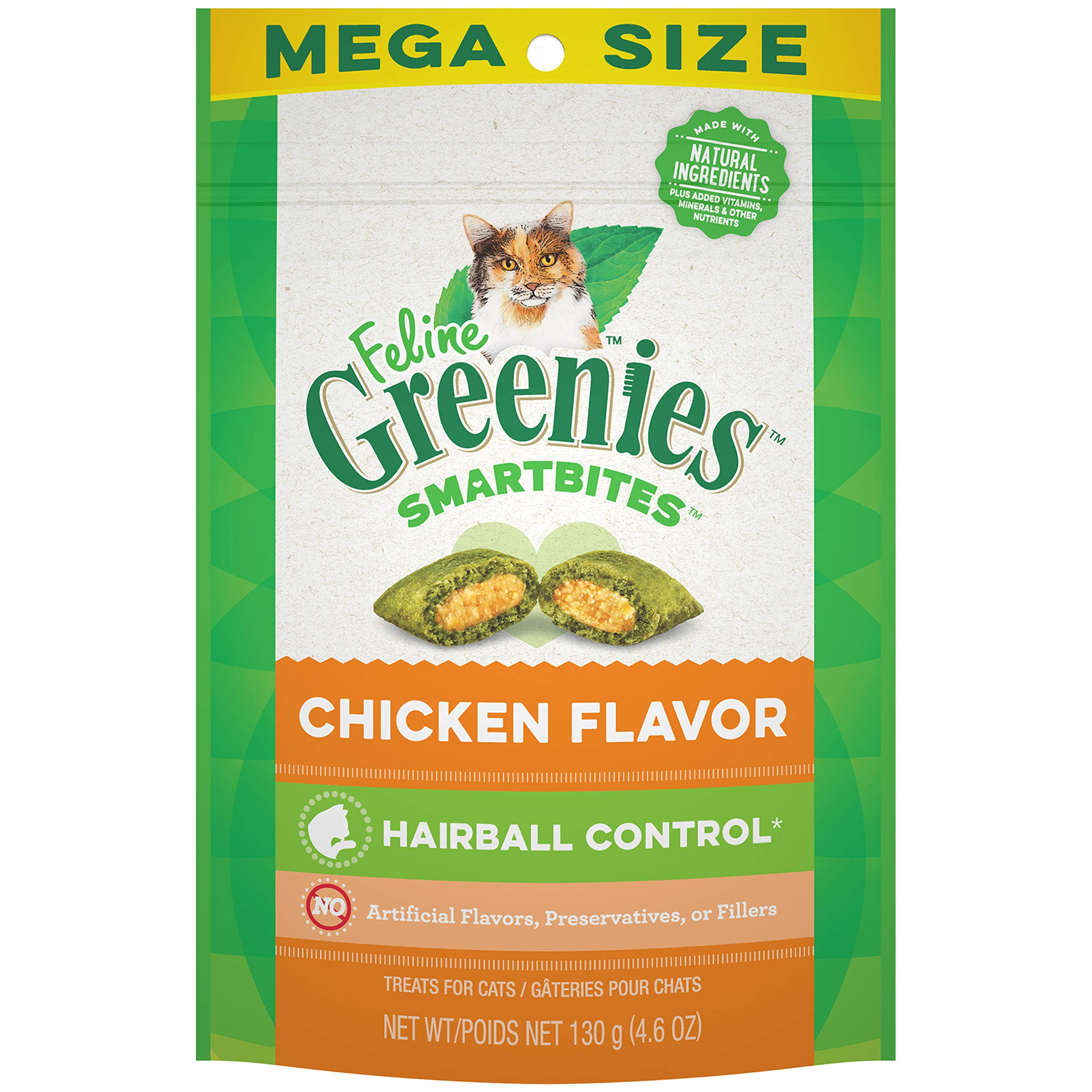 FELINE GREENIES SMARTBITES Hairball Control Natural Cat Treats Chicken Flavor, (10) 4.6 oz. Pouches