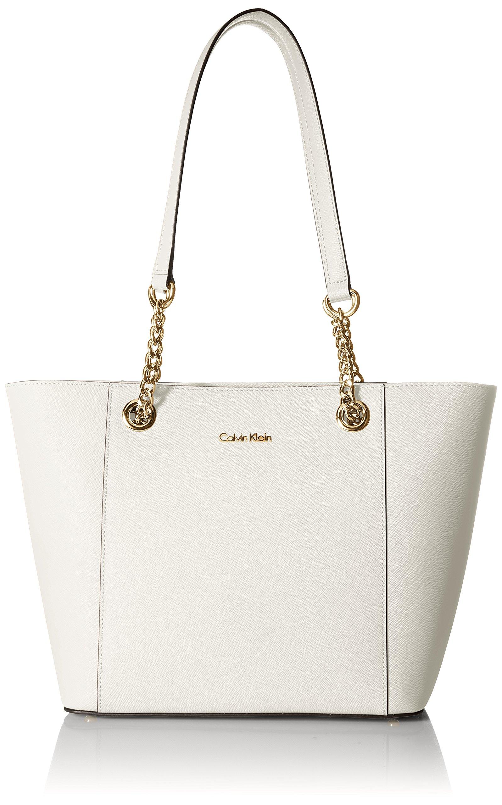 Calvin Klein Hayden Saffiano Leather East/West Top Zip Chain Tote, White