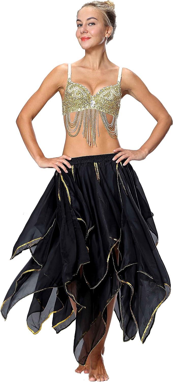 Seawhisper Chiffon Fairy Fancy Skirt Belly Dance Skirt for Women with Sequin Side Split