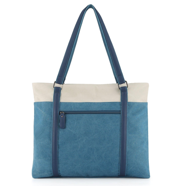 Canvas 15.6 Computer Work Office Handbag Plambag Womens Laptop Tote Bag Gray