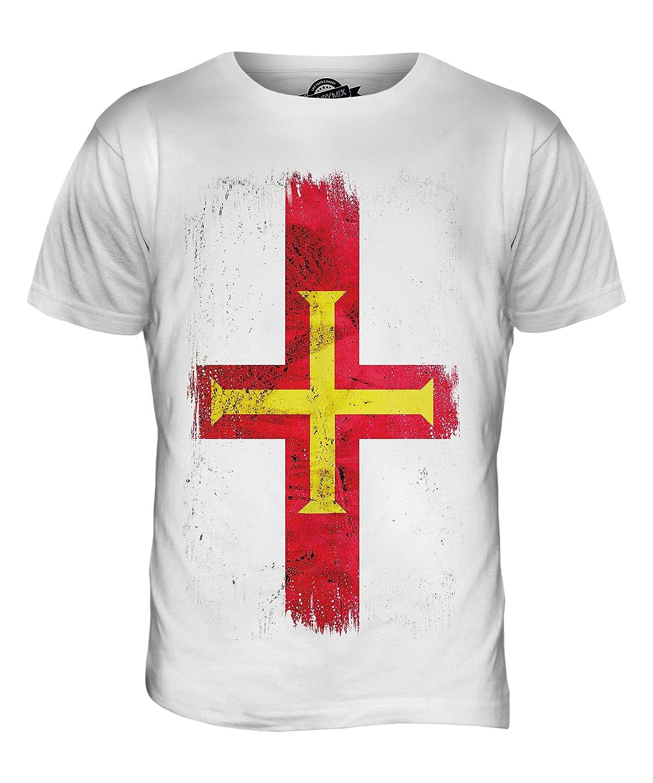 CandyMix Men's Guernsey Grunge Flag T Shirt T-Shirt Top