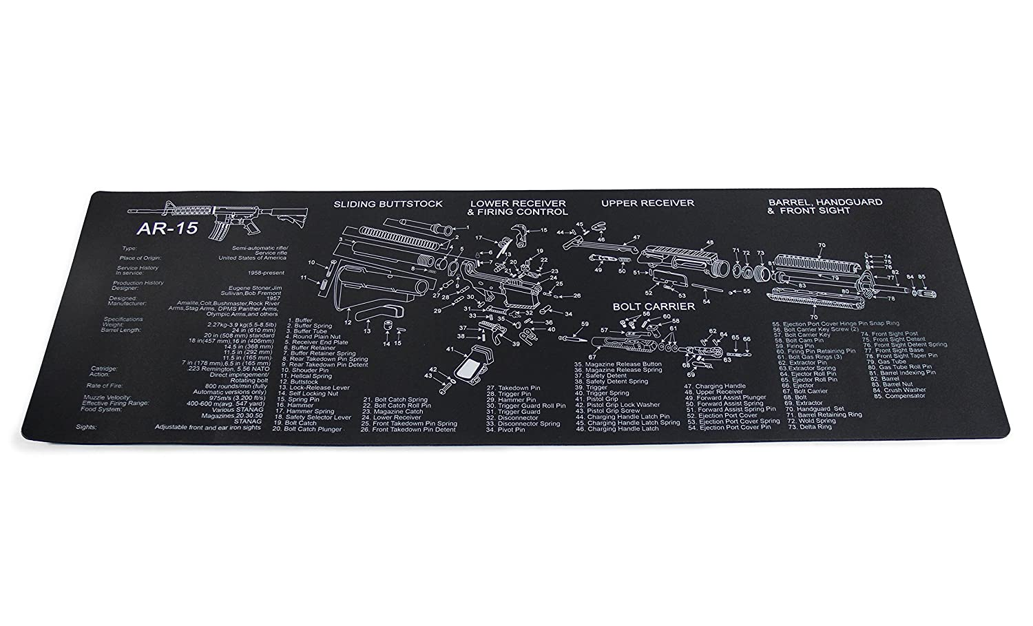 TigerBoss 12-Inch X 36-Inch Long Gun Cleaning Mat with AR15 Imprint,black