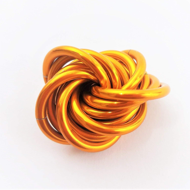 Möbii Tangerine: Small Fidget Ball Stress Mobius Toy, Restless Hand Quiet Office, School, Anxiety