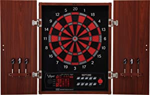 Viper Neptune Electronic Dartboard, Classic Cabinet Door Style, Target Test Tough Segments For Lasting Durability, Extended Spanish Cricket Scoreboard For 4 Players