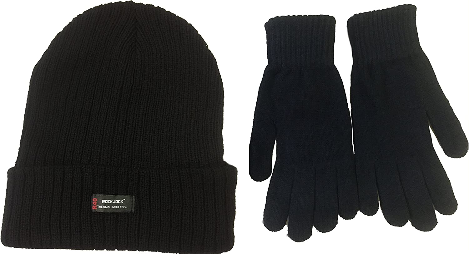 MENS ROCKJOCK THERMAL HAT CHUNKY KNIT WOOLY INSULATED BLACK 40 GRAM WINTER NEW