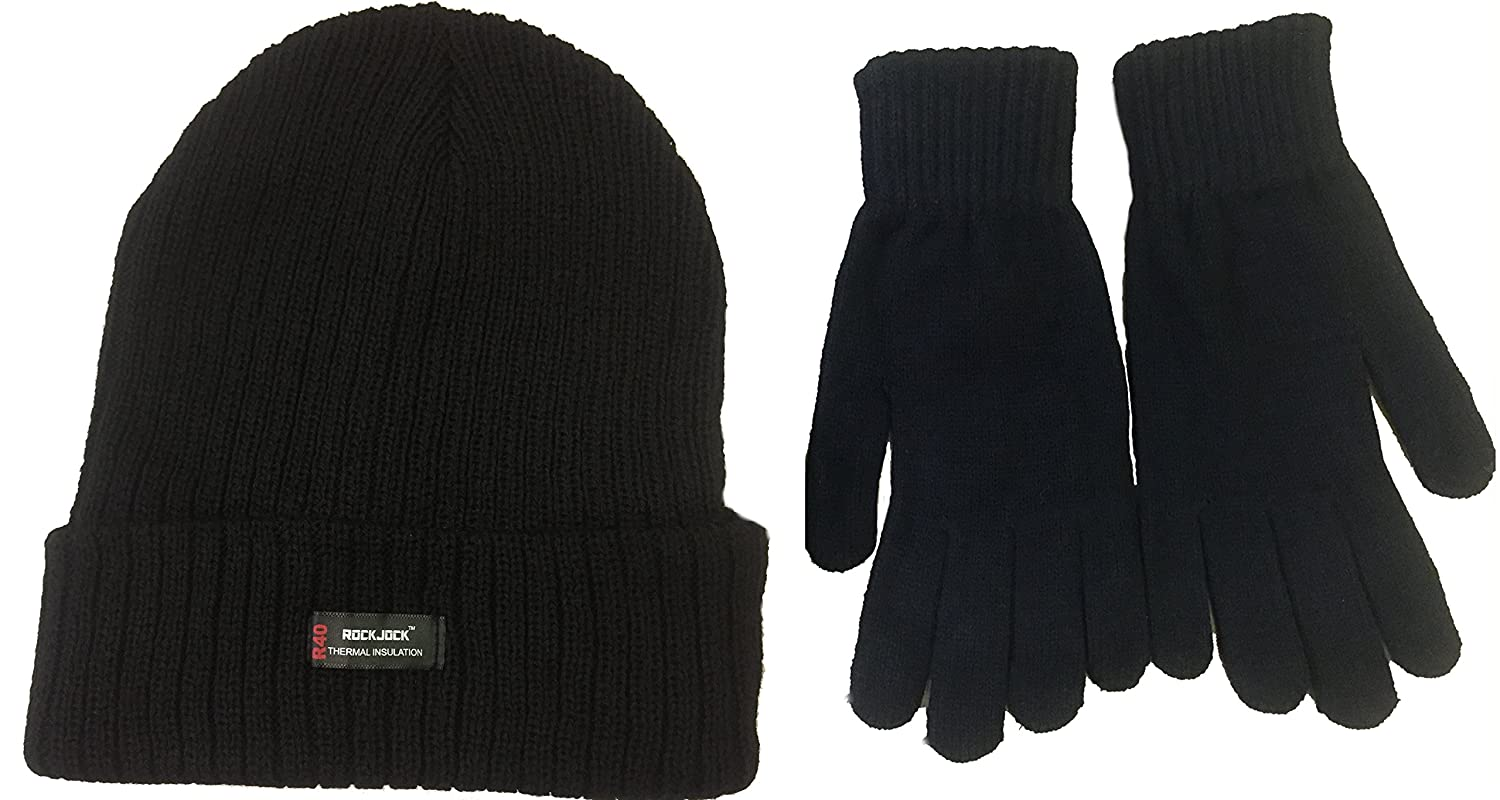 d1675d2c7 Mens Black 'Rockjock' Thermal Thinsulate Winter Hat (Style: Chunky Rib Knit  with Rockjock R40 Lining) and 'Handy' Thermal Gloves Set
