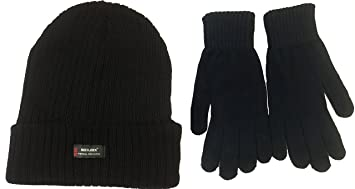 bd589deb569a5 Mens Black  Rockjock  Thermal Thinsulate Winter Hat (Style  Chunky Rib Knit  with. Roll over image to zoom in