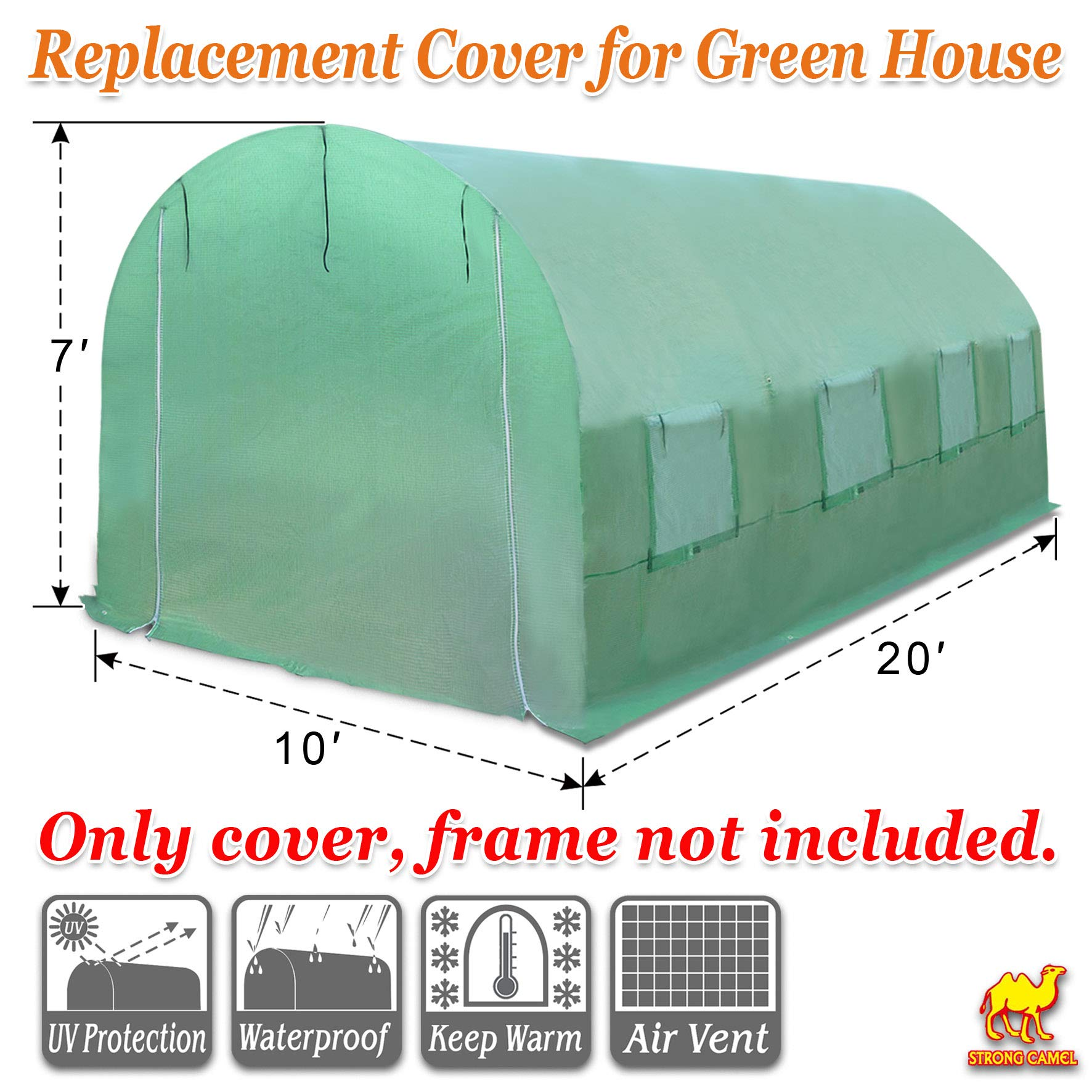 Strong Camel Greenhouse Replacement Cover 20'X10'X7' Green House Spare Parts Cover (Frame NOT Included) by Strong Camel