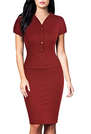 3ac224f0bf1 FORTRIC Women Short Sleeve Peplum Working Casual Party Bodycon Pencil Dress  Burgundy S at Amazon Women s Clothing store