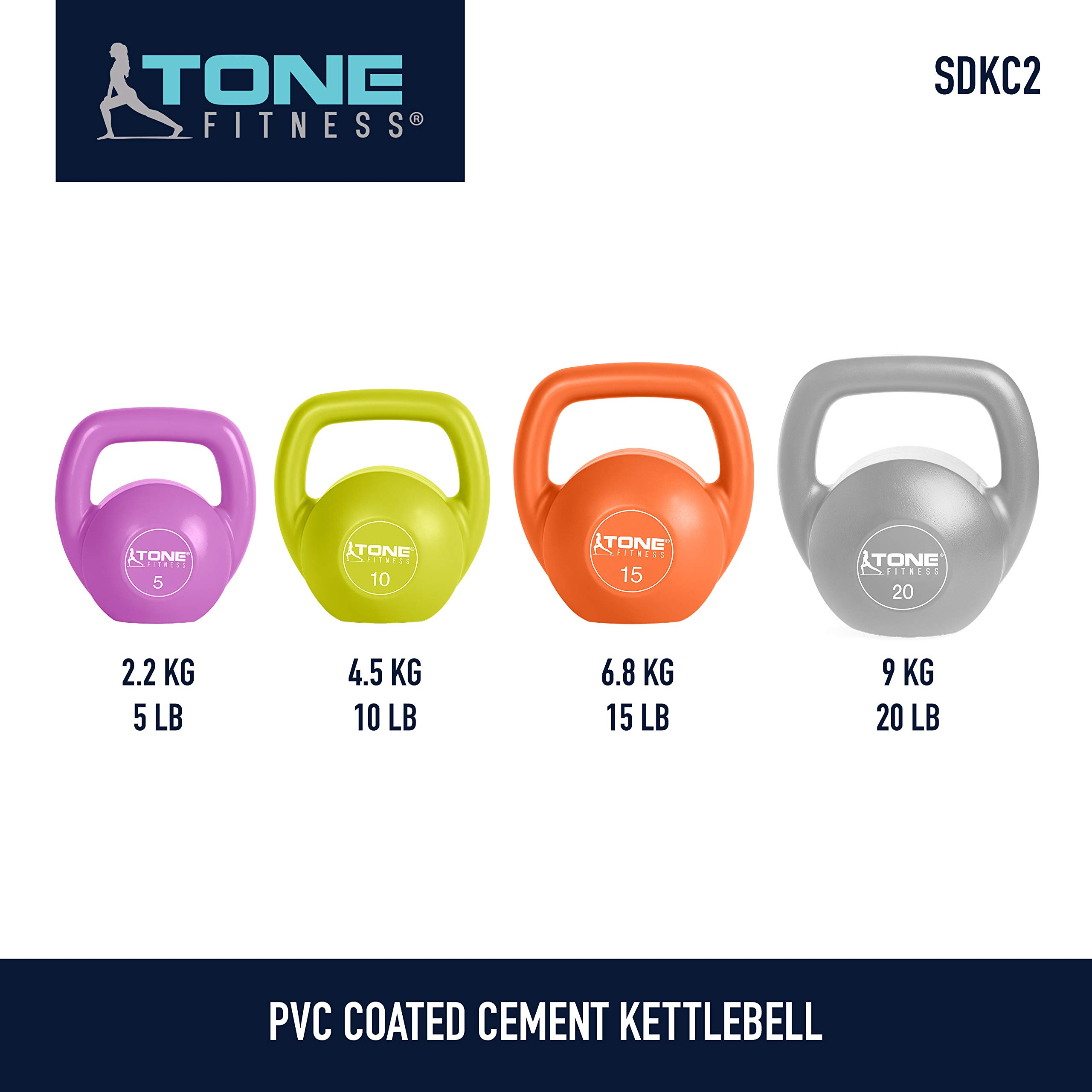 Tone Fitness Vinyl Kettlebell, 15-Pound, Orange by Tone Fitness (Image #7)