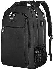 MATEIN Laptop backpack,Business Travel Waterproof School Bag with USB Charging Port for Men Women,Large College School Rucksack for Boy Girl Fit 15.6 inch Laptop Computer, Matt Black