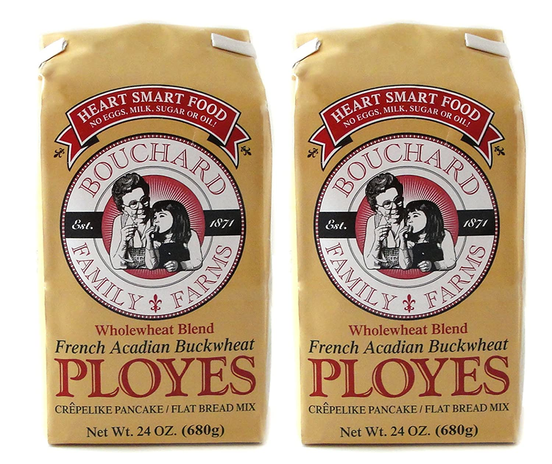 Wholewheat Blend French Acadian Buckwheat Ployes Flat Bread Pancakes Mix  Fat Free 2-Pack (24 oz each)