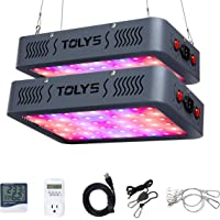 Plant Grow Light,Tolys 2019 Double Switch 1000W LED Grow Lights with Timer and Thermometer Humidity Monitor, with Adjustable Rope, Full Spectrum Grow Lamps for Indoor Plants Veg and Flower(Black)