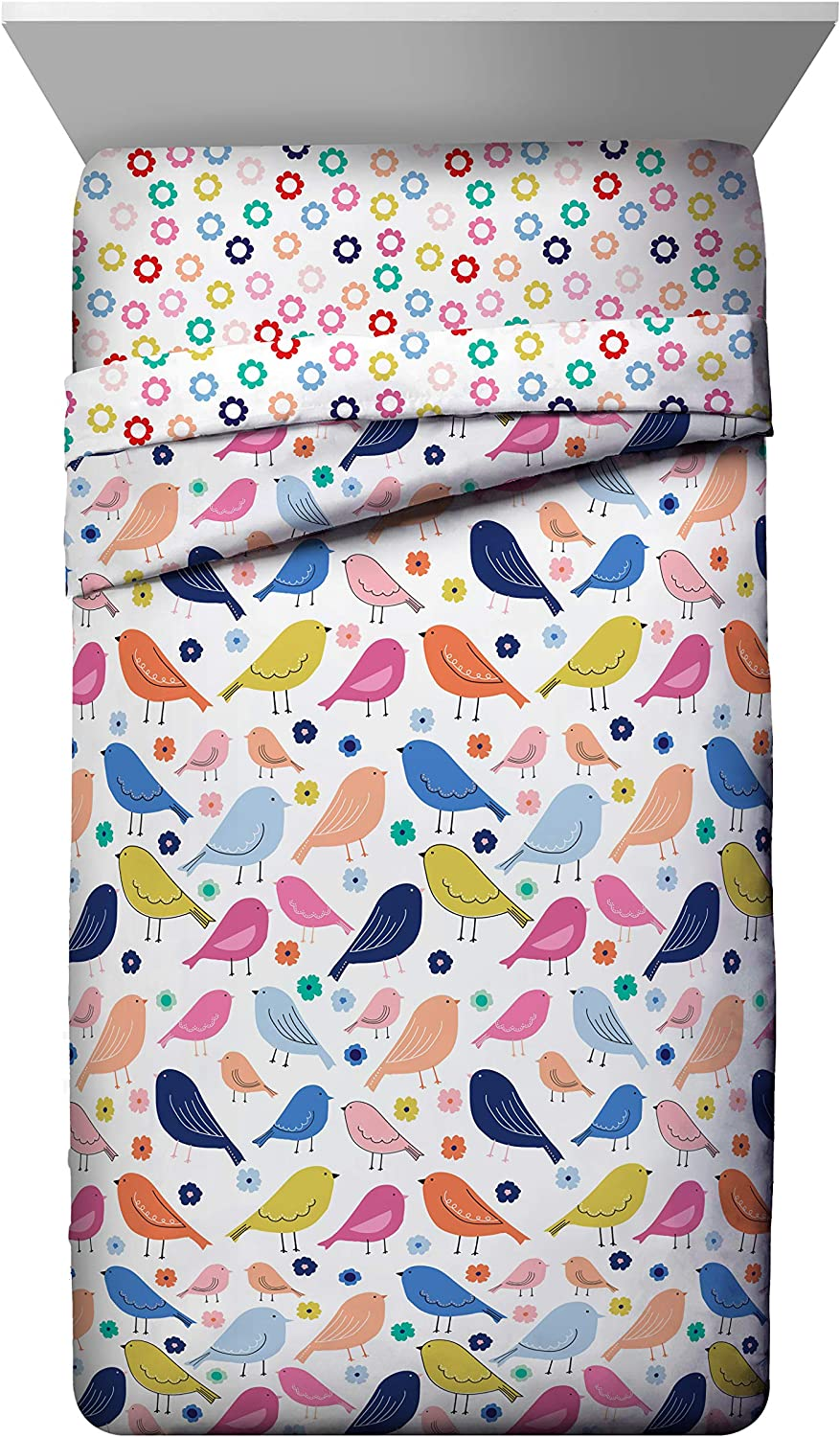 Jay Franco Vintage Bird 4 Piece Twin Bed Set Super Soft Fade Resistant Microfiber Includes Comforter /& Sheet Set