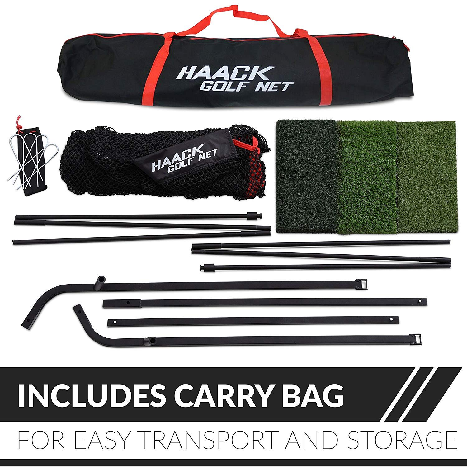 Rukket 3pc Golf Bundle | 10x7ft Haack Golf Net | Tri Turf Hitting Mat | Carry Bag | Practice Driving Indoor and Outdoor | Golfing at Home Swing Training Aids | by SEC Coach Chris Haack by Rukket Sports (Image #6)