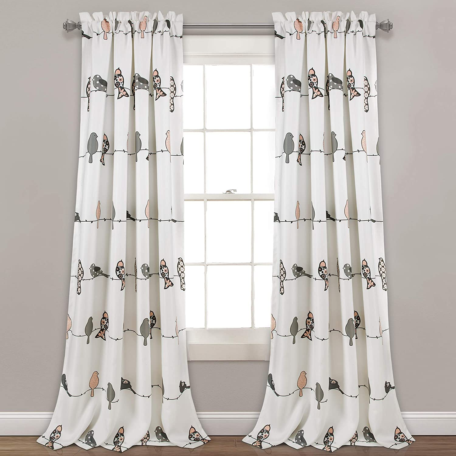 Lush Decor Rowley Birds Curtains Room Darkening Window Panel Set for Living, Dining, Bedroom (Pair), 95 x 52 , Blush and Gray, L, Blush & Gray 81cIPLlZknL