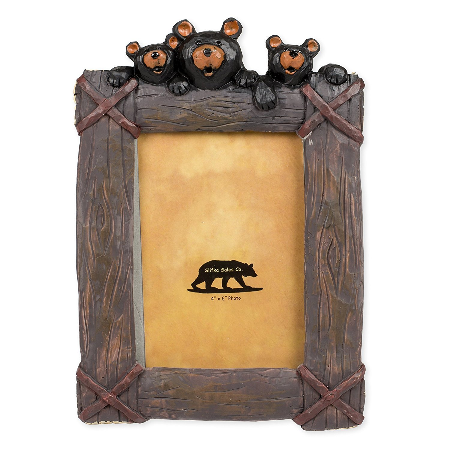 Black Bear Trio 8 x 2 x 10.5 Inch Resin Crafted Tabletop 4x6 Picture Frame by Slifka Sales Co.