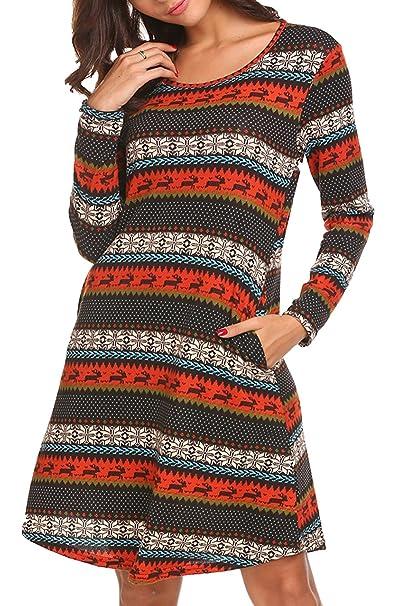 00da827f422 Women s Long Sleeve Pleated Loose Swing Casual Dress With Pockets Knee  Length Blue S