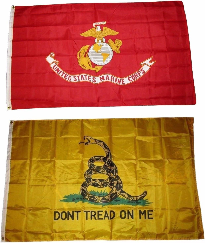 2 Pack 3x5 3'x5' Wholesale Set USMC Marines Marine Camouflage Flag Banner