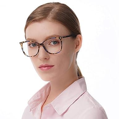 44cceaa04e Oversize Optical Eyeglasses Non-prescription acetate Frame with Clear  Lenses for Women (Demi-