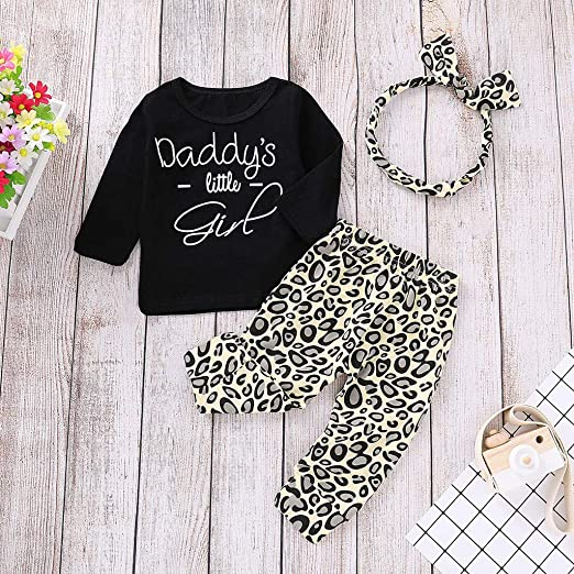 Yonimu 3pcs//Set Infant Toddler Boy Girl Outfits Clothes Suit Daddy is My Hero T-Shirt Tops+Triangle Pattern Pants+Headband